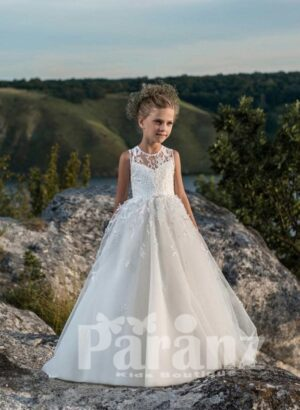PURE WHITE LONG GOWN WITH TULLE SKIRT FOR GIRLS