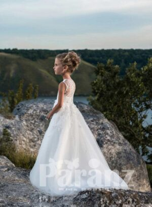 PURE WHITE LONG GOWN WITH TULLE SKIRT FOR GIRLS SIDE VIEW