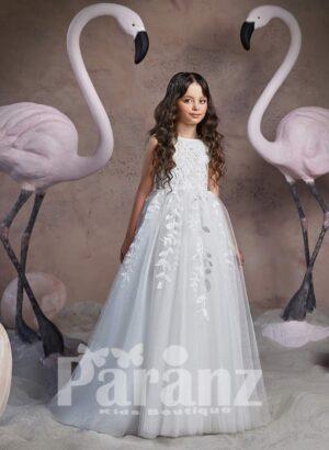 Pretty princess floor length tulle skirt dress with beautiful floral appliqués