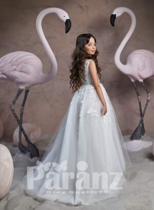 Pretty princess floor length tulle skirt dress with beautiful floral appliqués side view