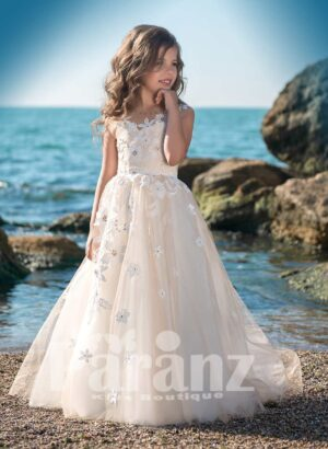 Pretty princess long tulle skirt dress with sheer-satin bodice and flower appliqués all over