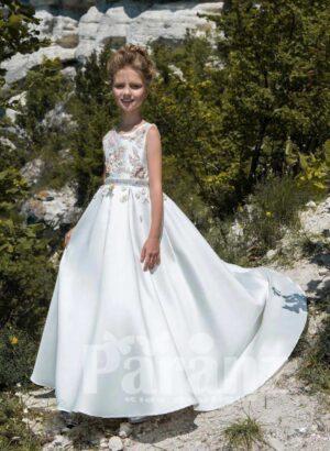 Rich satin long tulle skirt dress in white