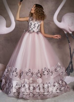 Rich satin metal pink gown with appliquéd hem tulle skirt and bodice