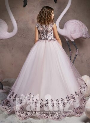 Rich satin metal pink gown with appliquéd hem tulle skirt and bodice back side view