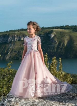 Rich satin party gown with tulle skirt in pink