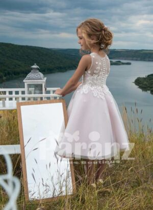 SATIN-SHEER TEA LENGTH PARTY DRESS WITH APPLIQUÉ BODICE SIDE VIEW