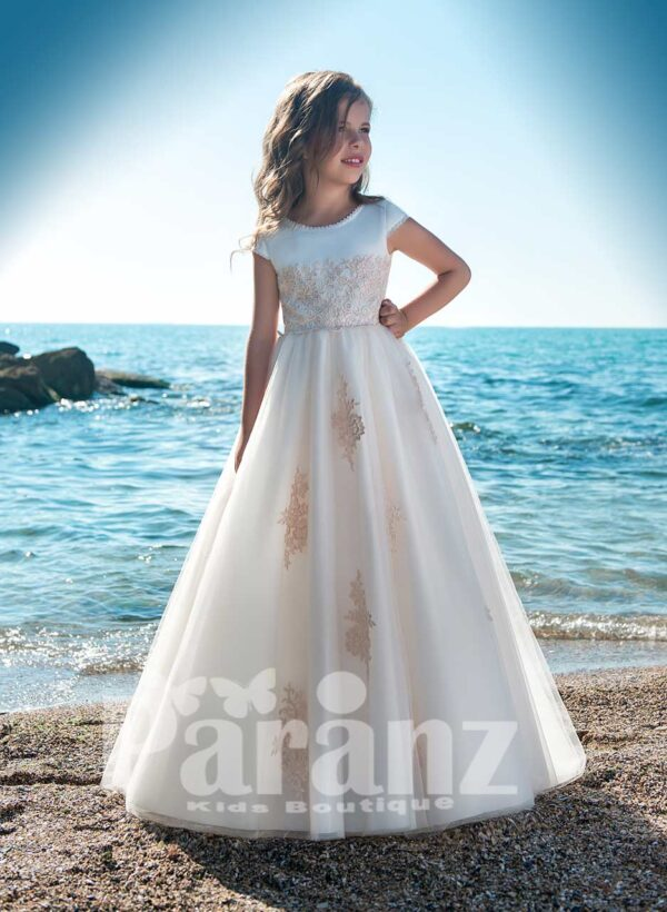 STYLISH LONG TULLE SKIRT DRESS WITH SATIN-SHEER BODICE AND BEIGE APPLIQUÉ ALL OVER