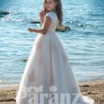 STYLISH LONG TULLE SKIRT DRESS WITH SATIN-SHEER BODICE AND BEIGE APPLIQUÉ ALL OVER SIDE VIEW