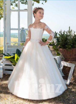Satin-sheer long elegant white tulle skirt dress with white floral appliqués