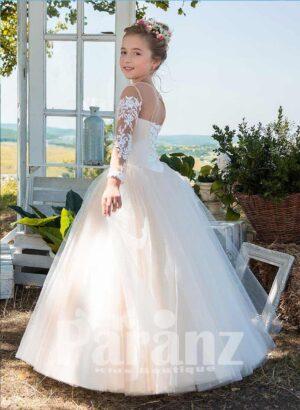 Satin-sheer long elegant white tulle skirt dress with white floral appliqués side view