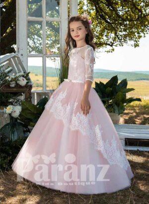 Satin-sheer long sleeve tulle skirt dress with sheer-lace overskirt