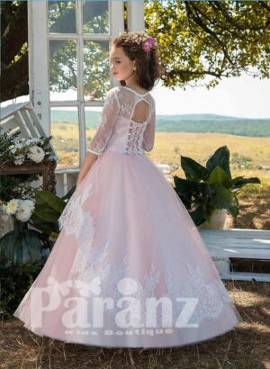 Satin-sheer long sleeve tulle skirt dress with sheer-lace overskirt side view