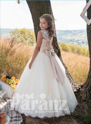 Sleeveless satin-sheer bodice white flower appliquéd long tulle skirt dress side view