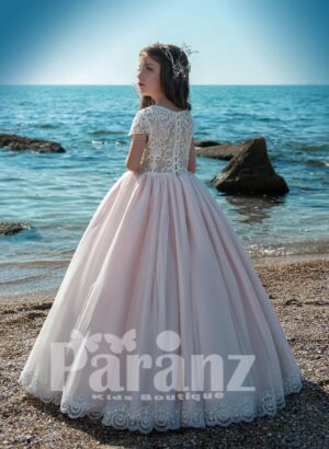 Soft and long tulle skirt dress with appliquéd flower and pearl studded side view
