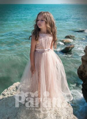 Special glitz satin dress with one layer fluffy tulle skirt