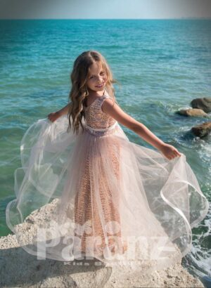 Special glitz satin dress with one layer fluffy tulle skirt side view