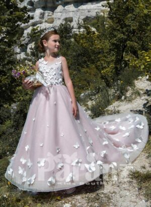 Stunning bridesmaid pink gown with all over butterfly embroidery