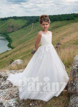 Stunning white floor length gown with tulle skirt