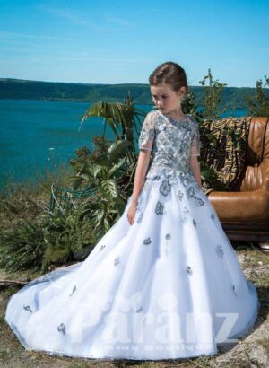 Stunning white long gown dress with gray floral embroidery bodice