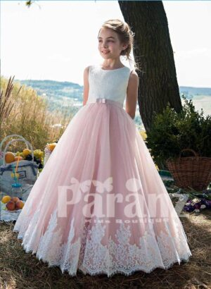 Threaded appliquéd white bodice with pink tulle skirt dress