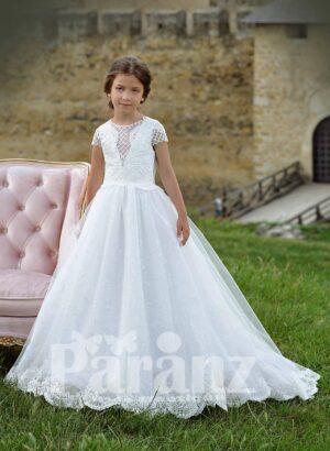 White glitz tulle skirt dress with net woven satin-sheer appliquéd bodice