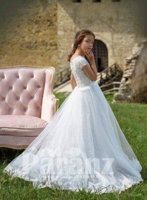 White glitz tulle skirt dress with net woven satin-sheer appliquéd bodice side view