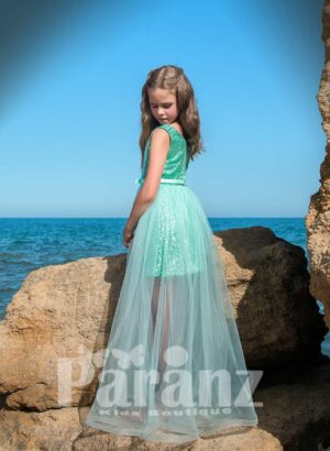 one layer long tulle skirt dress with glitz satin underneath dress side view