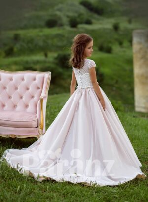 shiny satin long trail tulle skirt dress with small pearl studded appliquéd bodice side view