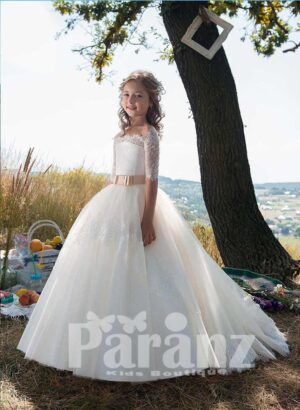 stylish off-shoulder satin-lace bodice and long tulle skirt dress in white