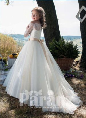 stylish off-shoulder satin-lace bodice and long tulle skirt dress in white side view