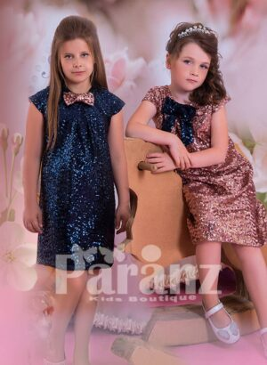 A-LINE ALL OVER SEQUIN WORK DRESS WITH ONE NECK BOW