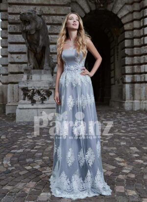 ALL OVER APPLIQUÉD LONG SATIN-TULLE GOWN WITH DEEP V CUT BACK