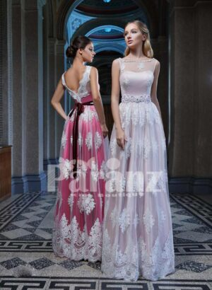 ALL OVER APPLIQUÉD LONG SATIN-TULLE GOWN WITH DEEP V CUT BACK SIDE VIEW
