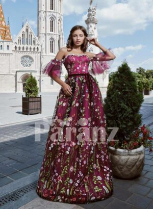 All over colorful flower appliquéd long backless satin gown with wing sleeves