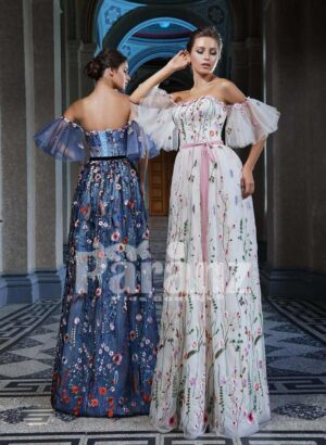 All over colorful flower appliquéd long backless satin gown with wing sleeves side view