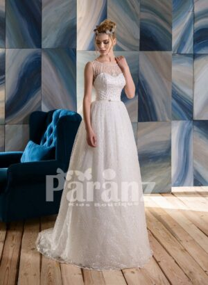 All over sequin-rhinestone work luxury tulle wedding gown