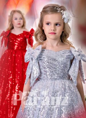 All over sequin work long satin gown with stylish bow sleeves