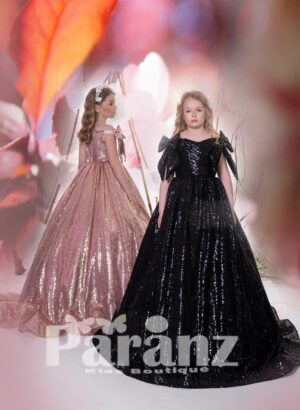 All over sequin work long satin gown with stylish bow sleeves black