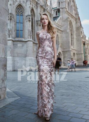 All over sequin work luxury satin party gown for women