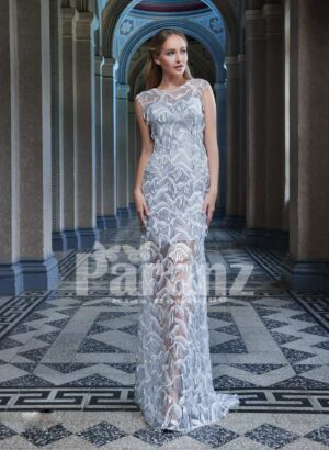 All over sequin work luxury satin party gown for women ice blue