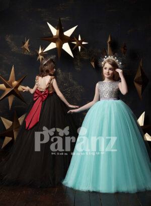 Appliquéd hem glitz long tulle skirt dress with sheer-satin bodice