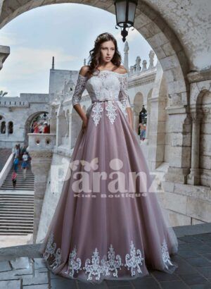 Appliquéd hem long tulle gown with luxury white flower embroidered bodice