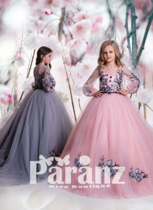 Arabic princess gown dress with tulle skirt and major appliqué works