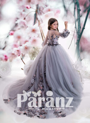 Arabic princess gown dress with tulle skirt and major appliqué works backside view