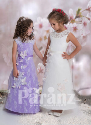Beautiful A-line party dress with soft sheer cover and white butterfly appliqué