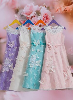 Beautiful A-line party dress with soft sheer cover and white butterfly appliqué for girls