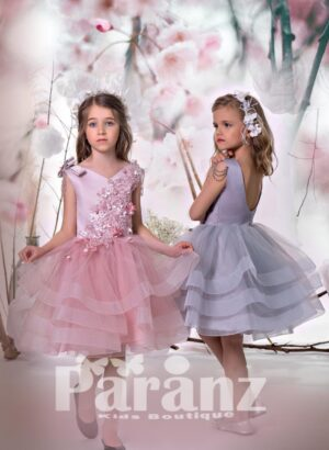 Beautiful sequin floral design bodice with multi-layer tulle skirt dress in pink hue