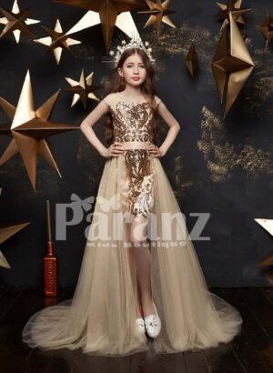 Beige appliquéd high low tulle skirt dress for girls