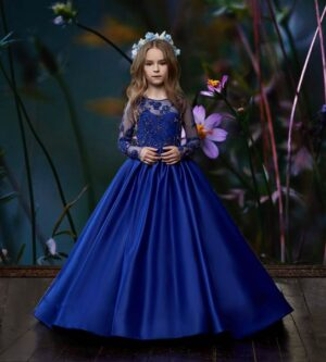 Birthday dress Ball Gown with appliquéd satin-sheer bodice and full sleeves without logo
