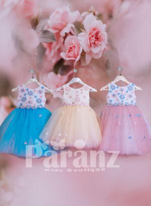 Colorful flower appliquéd white bodice with tea length tulle skirt FOR KIDS